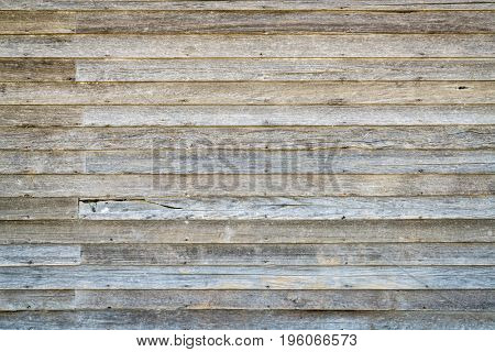 background and texture of  an old, weathered wood siding of abandoned farm house