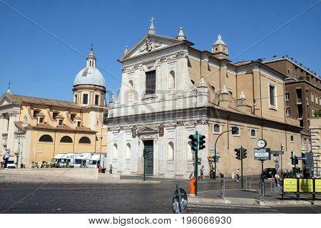 ROME, ITALY - SEPTEMBER 02: San Girolamo dei Croati church in Rome, Italy  on September 02, 2016.
