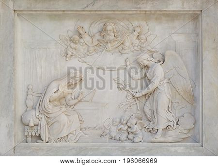 ROME, ITALY - SEPTEMBER 02: Annunciation of the Virgin Mary on the Column of the Immaculate Conception on Piazza Mignanelli in Rome, Italy on September 02, 2016.