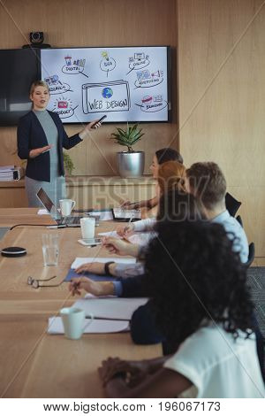 Businesswoman discussing with team over whiteboard during meeting in board room