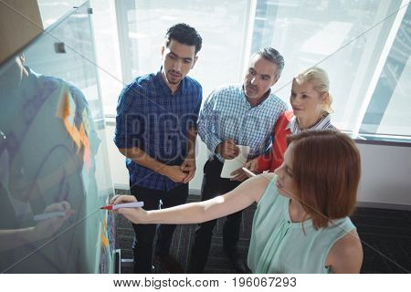 High angle view of businesswoman explaining to colleagues over whiteboard at office