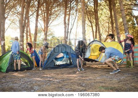 Young friends setting up their tents together on field at countryside