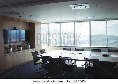 Interior of empty board room at office