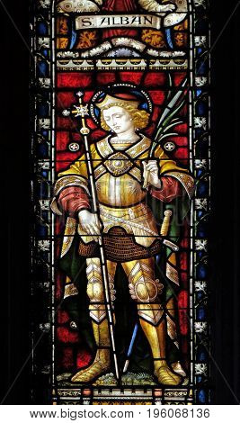 ROME, ITALY - SEPTEMBER 02: Saint Alban on the stained glass of All Saints' Anglican Church, Rome, Italy on September 02, 2016.