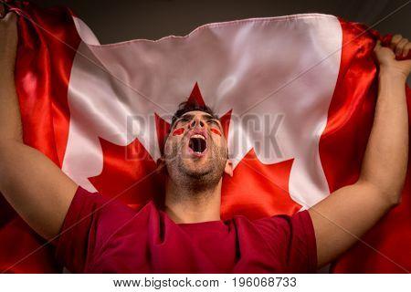 Canadian Guy Waving Canada Flag