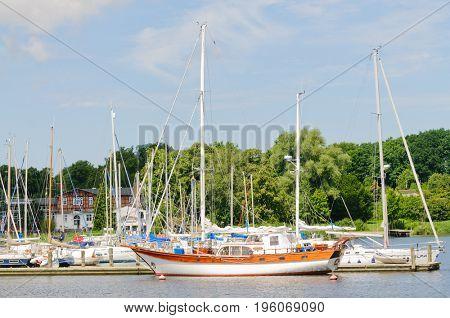Rostock, Germany-July 14, 2017: Many sailing boats at dock in Rostock Marina