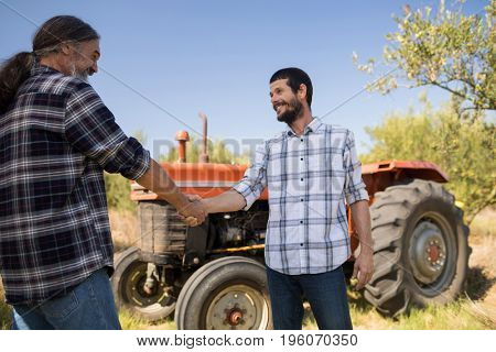 Happy friends shaking hands in farm on a sunny day