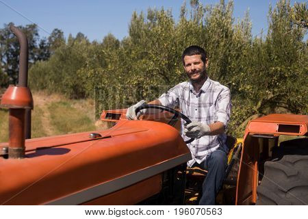 Portrait of man sitting in tractor on a sunny day