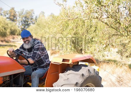 Portrait of happy man sitting in tractor on a sunny day
