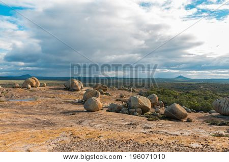 The Lajedo De Pai Mateus Is A Famous Rock Formation In The Caatinga (brazilian Ecoregion) In Cabacei