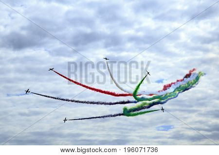Airplanes on airshow.