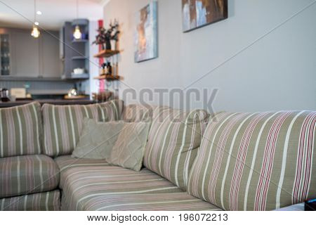 Close up of sofa in living room at home