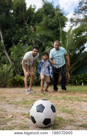 Family looking at soccer ball while playing in yard