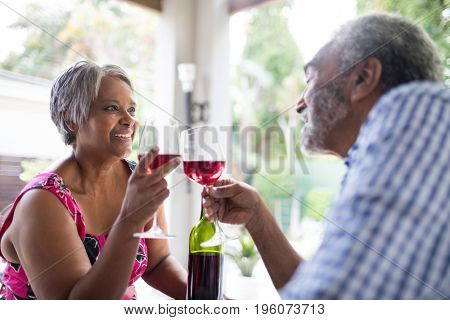 Smiling couple toasting wineglasses while sitting in yard