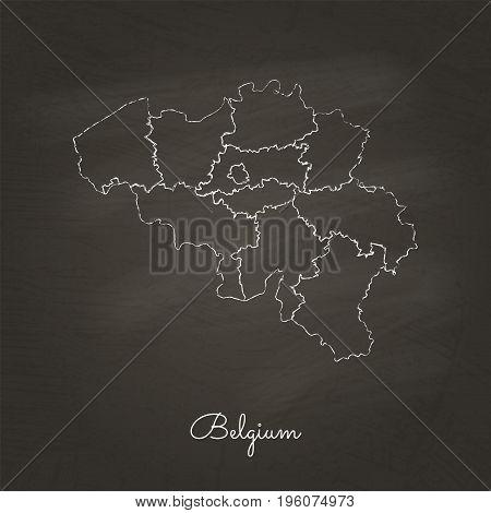 Belgium Region Map: Hand Drawn With White Chalk On School Blackboard Texture. Detailed Map Of Belgiu