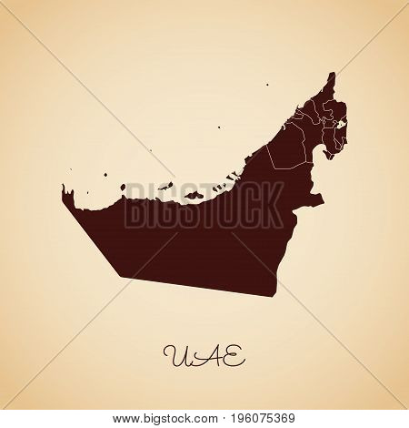 Uae Region Map: Retro Style Brown Outline On Old Paper Background. Detailed Map Of Uae Regions. Vect