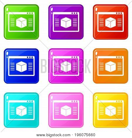3d model icons of 9 color set isolated vector illustration