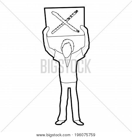 Man protest with sign icon in outline style isolated on white vector illustration