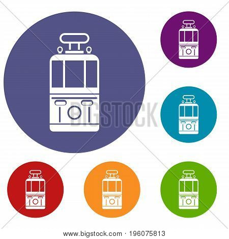 Tram front view icons set in flat circle red, blue and green color for web