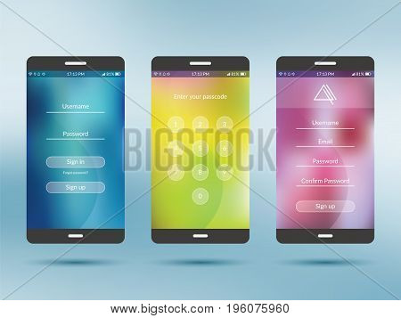Mobile application UI kit collection set. Join us screen number security screen profile settings screen social login screen. Design in vector illustration.