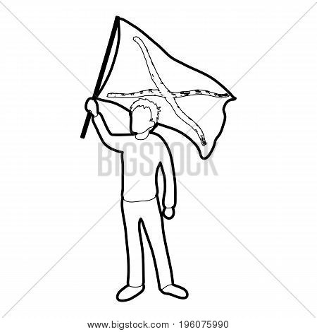 Man protest icon in outline style isolated on white vector illustration
