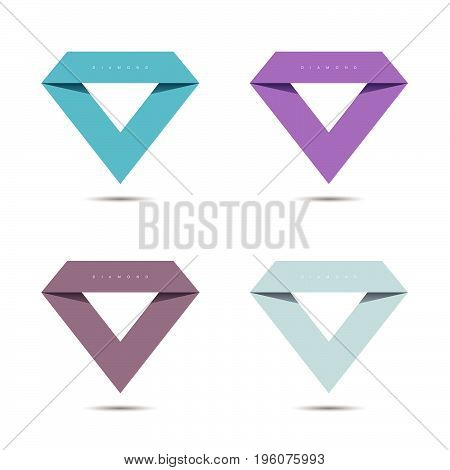 diamond sign set vector illustration in colorful