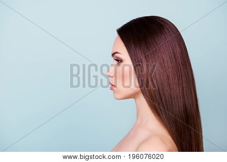 Wellbeing And Wellness, Beauty And Health Concept. Coseup Side Profile Photo Of Young Brunette Girl.