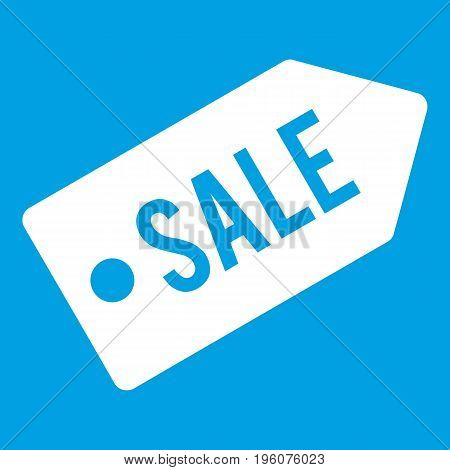 Sale icon white isolated on blue background vector illustration