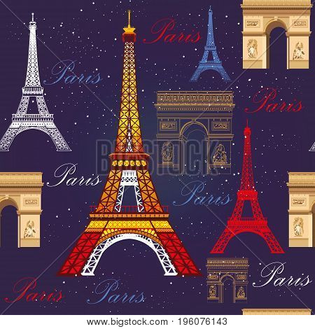 Seamless pattern with colorful Eiffel tower Triumphal arch and stars on blue background
