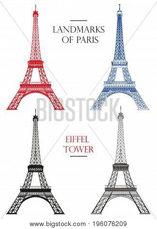 Set of vector isolated Eiffel tower in black white and colors: contour and silhouette on white background