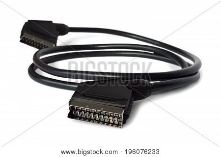 Close up of scart cable isolated on white background