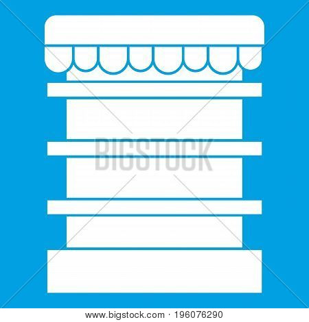 Empty supermarket refrigerator icon white isolated on blue background vector illustration