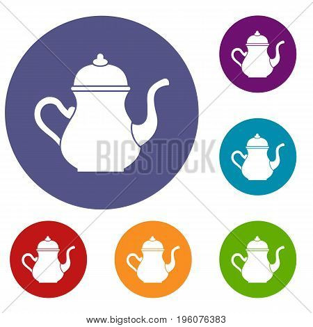 Traditional Turkish teapot icons set in flat circle red, blue and green color for web
