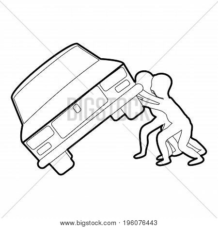 People overturned car icon in outline style isolated on white vector illustration