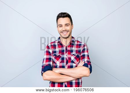 Success Concept. Excited Young Stylish Bearded Brunet Student In Bright Casual Checkered Shirt Stand
