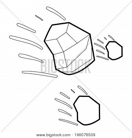 Throwing stones icon in outline style isolated on white vector illustration