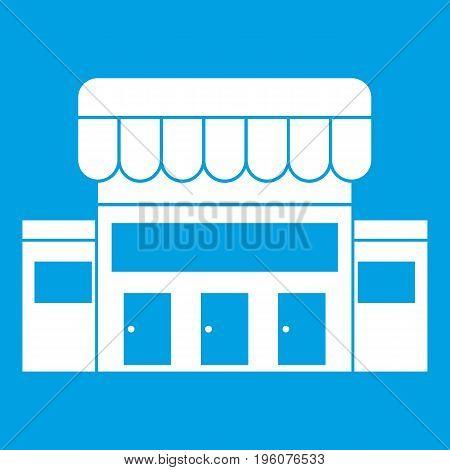 Supermarket building icon white isolated on blue background vector illustration