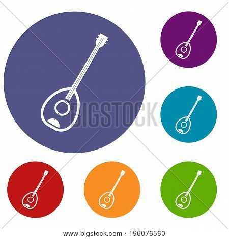 Saz turkish music instrument icons set in flat circle red, blue and green color for web
