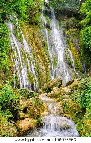 The 35m tall upper section of the Mele Cascades Waterfalls - Port Vila Efate Island Vanuatu