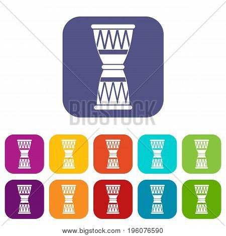 African drum icons set vector illustration in flat style in colors red, blue, green, and other