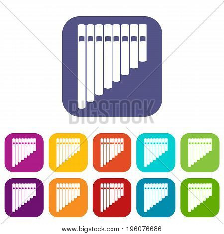Pan flute icons set vector illustration in flat style in colors red, blue, green, and other