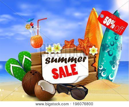 Summer sale banner online shopping on beach background. Vector illustration