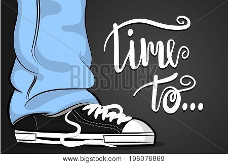 Pop art man sneakers blue jeans shoelace stay thinking about time. Philosophy lettering comic text phrase. Cartoon colored sketch vector illustration. Funny young male fashion foot casual style.