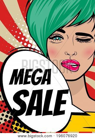 MEGA SALE. Pop art sexy woman advertise vintage poster. Comic book text balloon speech bubble. Discount banner vector retro illustration. Girl comic wow face surprised marketing special offer.