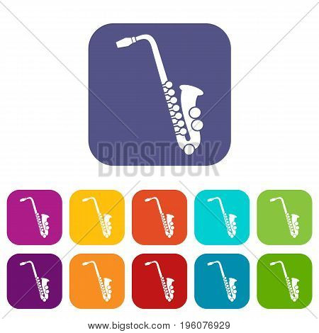Saxophone icons set vector illustration in flat style in colors red, blue, green, and other
