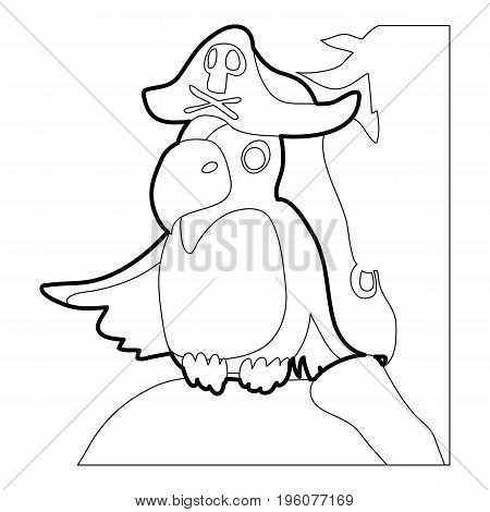 Pirate parrot icon in outline style isolated on white vector illustration