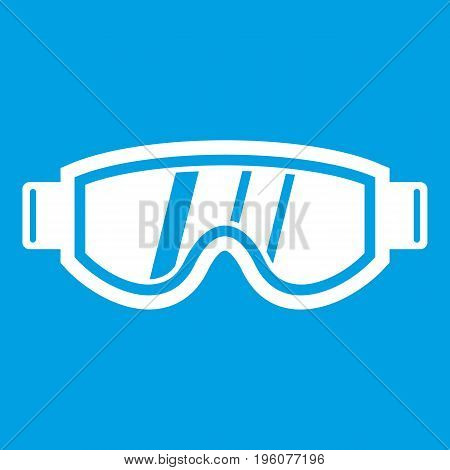 Skiing mask icon white isolated on blue background vector illustration