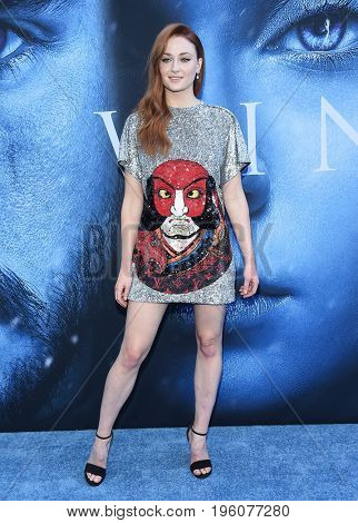 LOS ANGELES - JUL 12:  Sophie Turner arrives for the Season 8 premiere of HBO's 'Game of Thrones' on July 12, 2017 in Los Angeles, CA