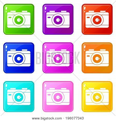 Photo camera icons of 9 color set isolated vector illustration