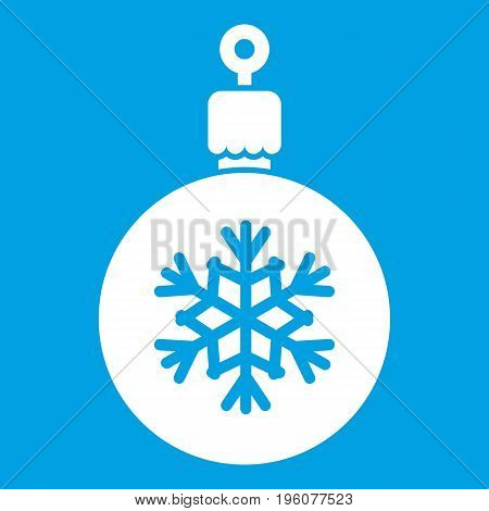 Ball for the Christmas tree icon white isolated on blue background vector illustration